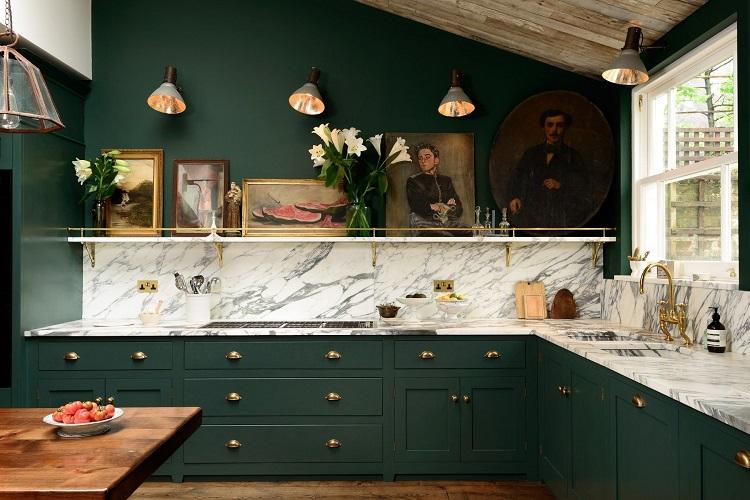 رنگ سبز آشپزخانه و کابینت ها