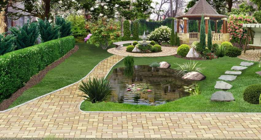محوطه سازی به سبک مینیمال در باغ ویلا